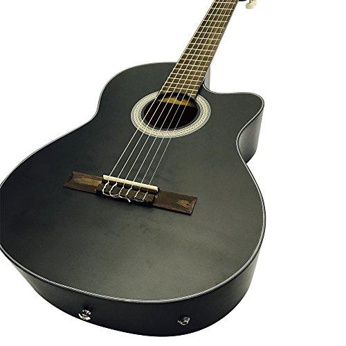 COBAN Elektro-Akustik Klassik Gitarren nur mit EQ (schwarz-Reflex Seidenmatte)