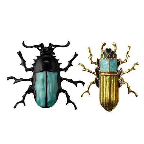 Käfer Machen Kostüm - Teydhao 2 Stücke Legierung Mode Dauerhafte Simulation Käfer Bug Insekt Brosche für Frauen Damen Männer Maskerade Kostüm Anstecknadel Insekten-Brosche-Bunte Hochzeits-Brosche-Modeschmuck-Geschenk