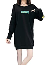 ecfe24079efe Haroty Robe Pull Femme Manches Longues Grande Taille Coton Hiver Automne  Casual Fluide Imprimé Cartoon Mickey