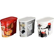 Kigima cibo barattolo di stoccaggio per alimenti animali domestici 5,7l set di 3 disegno animale colorato