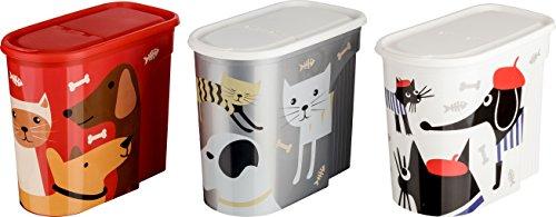 Kigima Futterdose Vorratsdose Tiernahrungsaufbewahrung 5,7 Liter 3er Set Tierdesign bunt