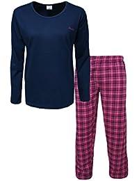 Modischer langer Schlafanzug für Damen mit langer karierter Flanell-Hose aus 100% Baumwolle Größen 36/38 bis 48/50