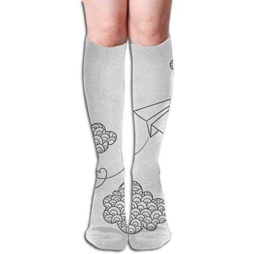 dfegyfr Paper Plane and Clouds Compression Socks Men & Women Running, Athletic Sports - Below Knee High