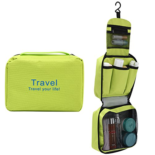Reise-Kulturbeutel für Damen und Herren zum Aufhängen, Toilettenartikel, Make-up, Tasche mit Reißverschluss, unisex, Luxus-Waschbeutel zum Aufhängen, schwarz (schwarz) - 51042 grün