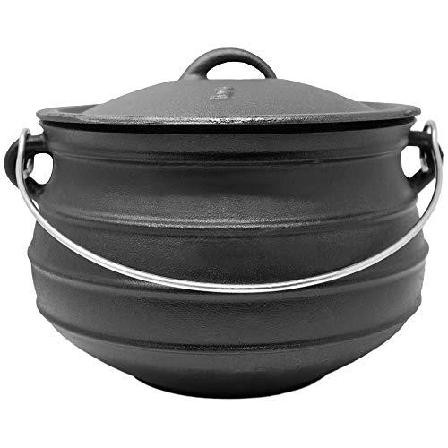 ToCis Big BBQ Potjie #3 Flat (ohne Füße)   Südafrikanischer Dutch Oven Gusseisen Koch-Topf   Größe: ca. 8 Liter