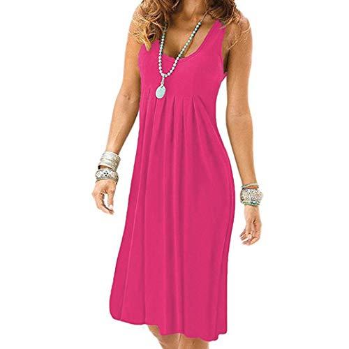(Damen Kleider Sommer Elegant Knielang Festlich Hochzeit Rockabilly Ärmelloses Plissiertes Casual Minikleid (Hot Pink, XL))