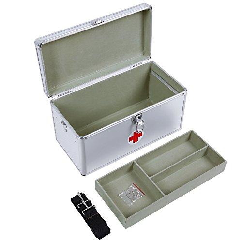 Songmics Verbandtasche leer Box ersten Hilfe 2Schichten Alu 40x 20,5x 22,5cm JBC36S