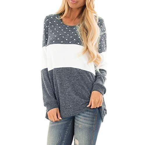 POIUDE Damen Bluse Frauen Wellenpunkt Nähen Der Beiläufiges T-Shirt Lose Lange Hülsen-Spitzenbluse(Grau, S)