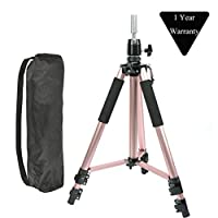 Adjustable Aluminium Alloy Tripod Stand Holder Training Head Hairdressing Mannequin Manikin Canvas Block Head Wig Stand Salon Hair Clamp With Carrying Bag Rose Gold
