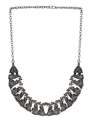 Efulgenz Oxidised German Silver Antique Trendy Boho Strand Necklace Jewellery for Women Girls (Styles Options)