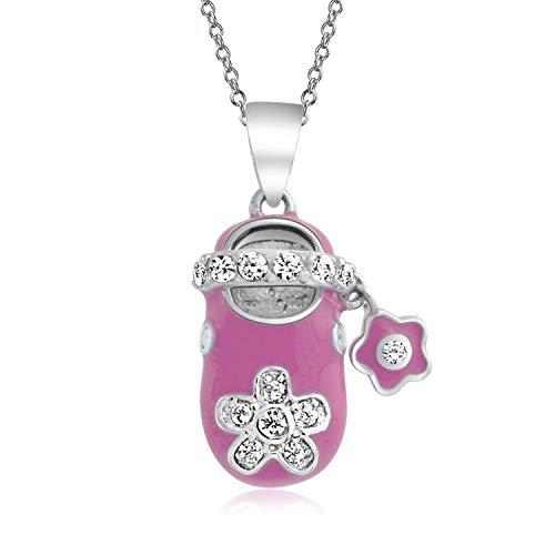 Rosa Emaille Zirkonia CZ Blume Gravierbaren Baby Schuh Charm Anhänger Halskette Für Neue Mutter Damen Sterling Silber