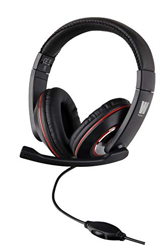 WASDkeys H200 Gaming Headset Pro Stereo für PC, Laptop, PS4 Playstation 4, Xbox One Multimedia Kopfhörer mit Mikrofon zum Spielen, Chatten, 3,5mm Klinke, On Ear Ohrhörer