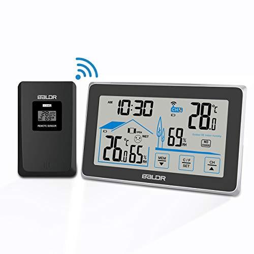 BACKTURE Termometro Igrometro Digitale, Stazione Meteorologica con Wireless Sensore, Termoigrometro Digitale con Schermo LCD per Interno Esterno Temperatura e Umidita Misura
