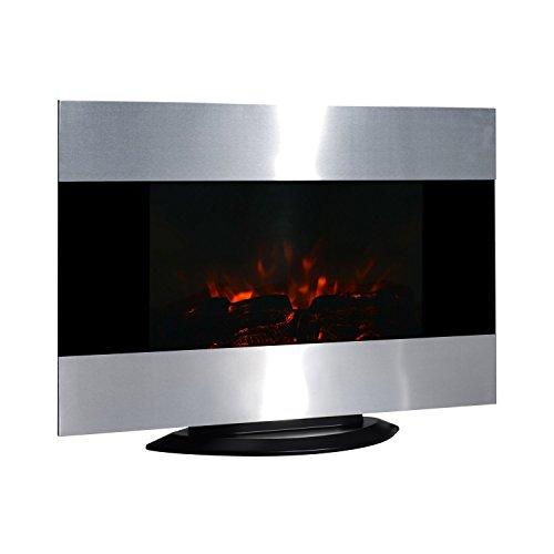 Homcom – caminetto elettrico a parete o free-standing con fiamma di led 90 x 9.5 x 56cm