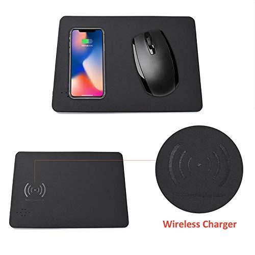 YWSZY-Mouse Pad 2 In 1 Kabellose Lademausunterlage Pu-Leder Multifunktions-Qi-Handy Computer Office Home Kabelloses Ladegerät Mauspad @ A (Samsung S5 Verizon Telefon)