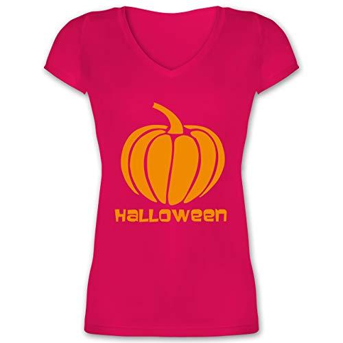 Fett Kostüm Zeichen - Halloween - Kürbis - XS - Fuchsia - XO1525 - Damen T-Shirt mit V-Ausschnitt