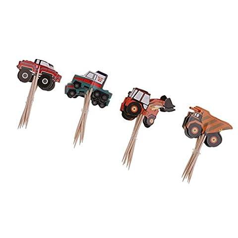 MagiDeal 24 Stück Cupcake Toppers Kuchen Picks Baby Dusche Dekor - Traktor