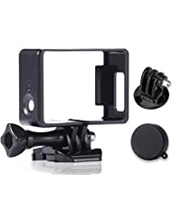 LuxeBell® Marco Frontera Carcasa Protectora Soporte para GoPro Hero4 3 + 3 - Carcasa Ligera y Compacta para la Cámara de Acción (Negro)