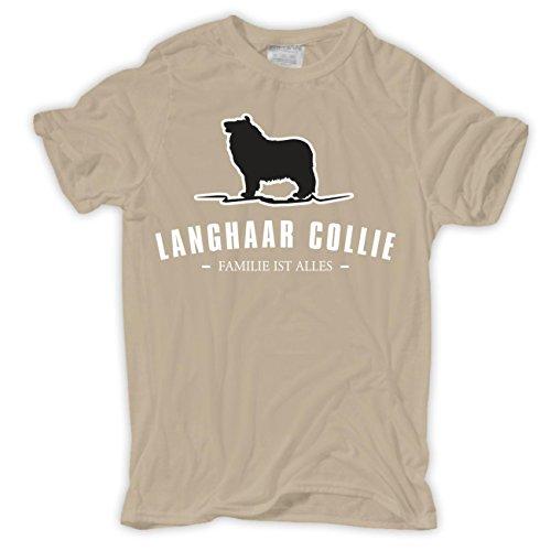 Männer und Herren T-Shirt Langhaar Collie - Familie ist alles Größe S - 8XL Sand