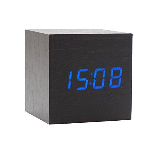 Onerbuy Wooden Digital Cube Alarm Clock Toque Sound