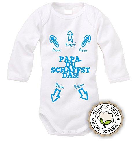 langarm Babybody mit Aufdruck: PAPA DU SCHAFFST DAS! (Blau) (50/56)