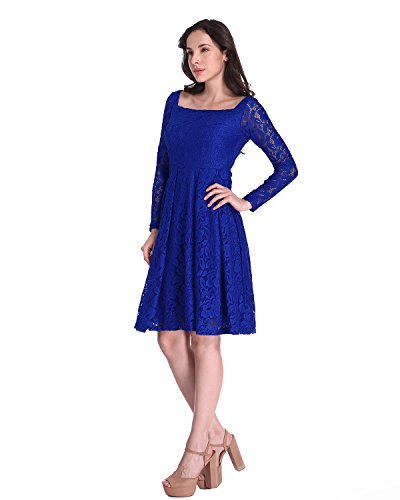 Auxo Damen Lang Arm Spitze Cocktail Oversize Tunika Party Bodycon Club Slim Kurz Kleider Blau