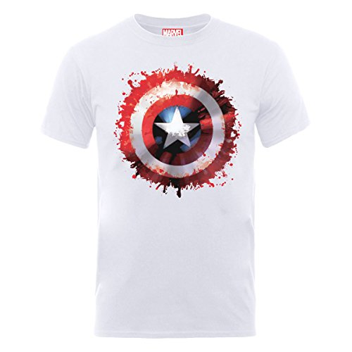 Marvel - Avengers Assemble Captain America Art Shield, T-shirt da uomo,  manica corta, bianco(white), L