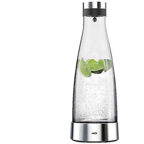 Emsa 515667 Glaskaraffe (mit Kühlelement, 1 Liter, Automatische Verschlussklappe, Glas, Edelstahl, Flow Bottle)