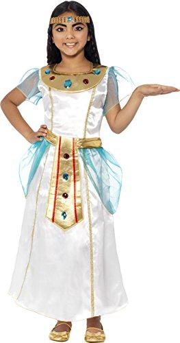 Smiffys Kinder Deluxe Kleopatra Kostüm für Mädchen, Kleid und Kopfschmuck, Größe: S, (Cleopatra Kostüme White)