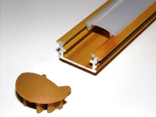 Lackiert Milchglas (Aluprofil für Led-Streifen, P1, Kiefernholz, lackiert, Milchglas-Abdeckung, 2 Endkappen, Länge: 1 m/100 cm/1000 mm)