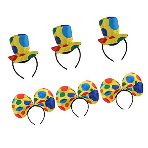 D DOLITY Packung mit 6 Stücke Mode Spaß Polka Dot Clown Bogen Hut Stirnbänder Zirkus Jester Hairband Frauen Mädchen Kostüm Cosplay Haar Zubehör