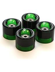3Style Scooters® hecha a medida 59mm juego de 4ruedas con rodamientos ABEC 7de plástico para monopatín de plástico Retro Cruiser /monopatín/ pista de patinaje, Transparent Green