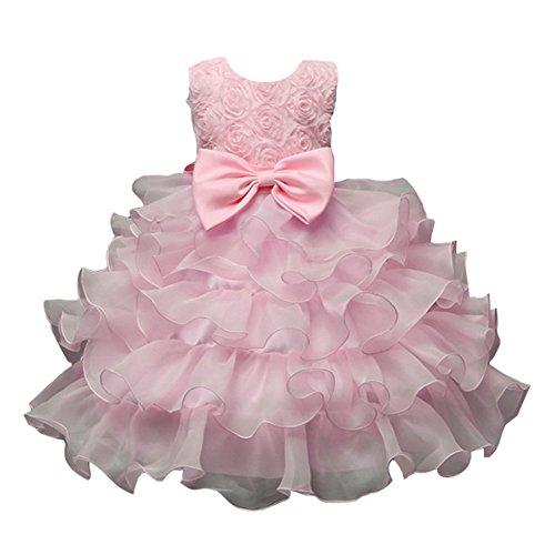 Blumen Mädchen Baby Festkleid Kinder Hochzeit Party TUTU Kleid Schleife 1-8 Jahre (Kommunion Boutique Kleider)