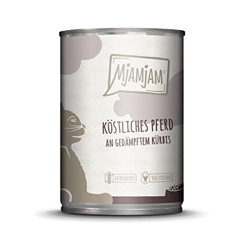 MjAMjAM - Premium Nassfutter für Katzen - köstliches Pferd an gedämpftem Kürbis, 6er Pack (6 x 400 g), getreidefrei mit extra viel Fleisch