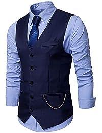 JOLIME Gilet Costume Hommes Vintage Mariage 5 Boutons Veste sans Manches Casual d'affaires