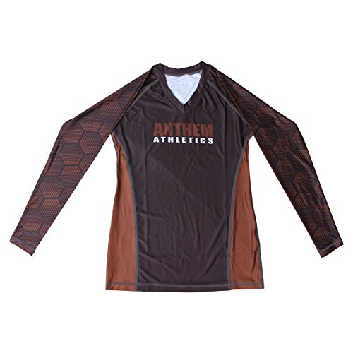 Neu. Hymne Leichtathletik Damen Ökotest Competition Long Sleeve Rash Guard Kompression Shirt-BJJ (IBJJF-geprüft) & MMA, Damen, Braun, Small