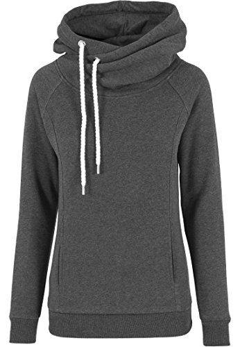 Urban Classics - Pullover Raglan High Neck Hoody, Felpa Donna, Nero (Charcoal), Medium (Taglia Produttore: Medium)