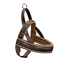 HUNTER RACING Norwegian harness for dogs, nylon, reflective, coat-friendly, 68-90/L, Brown