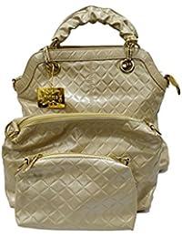 Parico Women's PU Handbag, Cream ( Pack Of 3 Bags )