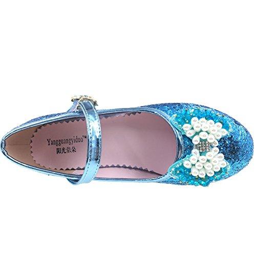 Tyidalin Ballerine Chaussures à talon à Déguisement Princesse Nœud Papillon Paillettes pour Enfant Fille 3 à 12 ans Bleu