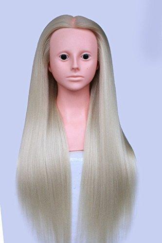 topbeauty Blond Cheveux Synthétiques Pratique de coiffure de formation Tête Poupée Mannequin avec bandoulière