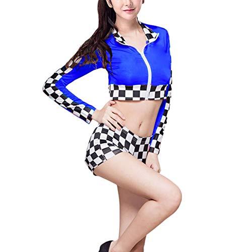 Tenthree Verkleiden Kostüme Erwachsene Kleidung - Damen Shorts Set Tanzröcke Cheerleader Sexy Langarm Racer Outfit Erwachsene Halloween Cosplay Karierten Party Uniformen