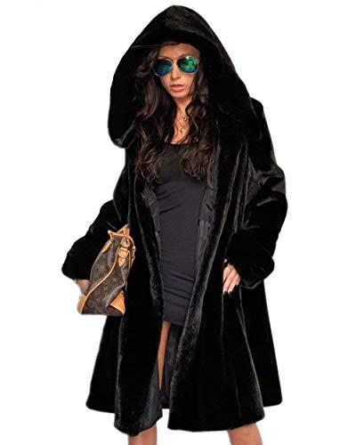 Mantello con cappuccio donna lunga autunno invernali pelliccia sintetica giacca eleganti vintage fashion classiche sciolto manica lunga calda giaccone outerwear prodotto plus donne