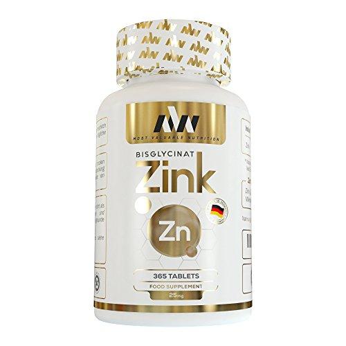MVN® Zink 365 Tabletten Hochdosiert | Vegan | 25mg Zink Bisglycinat | Hoch bioverfügbares Zink Chelat | Ohne unerwünschte Zusätze | Made in Germany