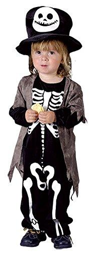 Mädchen Jungen Halloween Jangle Bones Skeleton Kostüm Kleinkind & Kleinkind Größe 2-5 Jahre (Infant (Age 4-5 Years), Schwarz)