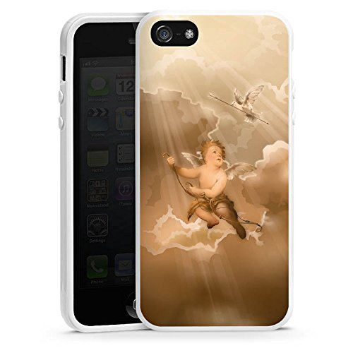 Apple iPhone 4 Housse Étui Silicone Coque Protection Amour Amour Ange Housse en silicone blanc