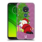 Head Case Designs Pantaloni Le Sfortune di Babbo Natale Cover Retro Rigida per Motorola Moto G7 Play