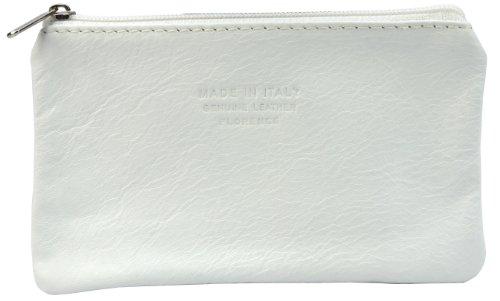 Italiano in morbida pelle con zip portamonete, portamonete o titolare di carta di credito del debito. Large White