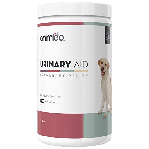 Animigo Urinary Aid for Dogs - Incontinence Supplement for Urine Treatment & UTI Support - Cranberry Complex - Natural Ingredients Including Echinacea & Brewer's Yeast - 60 Soft Chew Tablets
