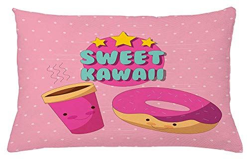 Anime Throw Pillow Cushion Cover, Sweet Kawaii Lettering with Donut and Coffee Smiling Cartoon Characters Pink Backdrop, Decorative Square Accent Pillow Case, 18 X 18 Inches, Multicolor